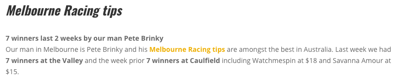best melbourne racing carnival tips